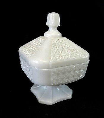 Vintage Milk Glass Square Footed Candy Compote Dish With Lid Diamond Square