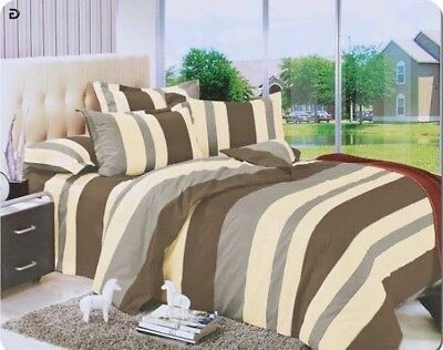 Grey Cotton Bedding Set, Quilted Duvet Cover With Pillow Cases & Fitted Sheet