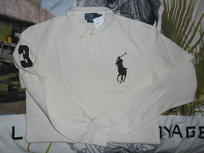 Polo RALPH LAUREN Beige MANCHES LONGUES NEUF Taille M