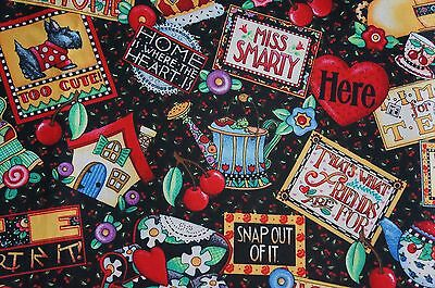NEW 1 FQ Mary Engelbreight Sayings Printed Quilt Cotton for any quilting.