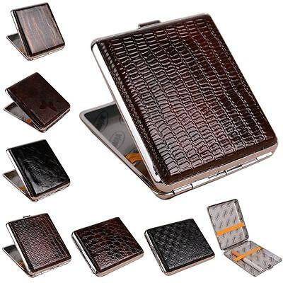 Leather Metal Cigarette Box Pouch Case Holder Tobacco Storage Container Aluminum