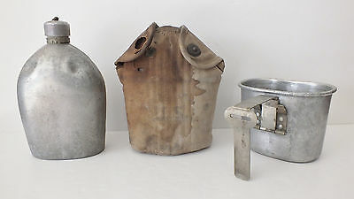 1918 WW1 US Canteen AGMCo w/ Khaki Canteen Cover & Cup All Dated Named