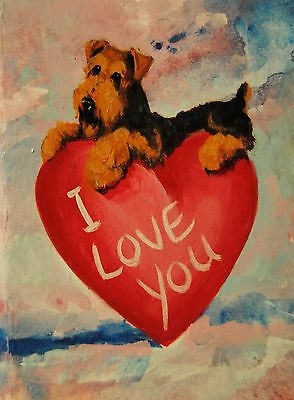 Original Painting~ACEO~Airedale Terrier~Dog~Hand Painted~Valentine~CARD~i Love U