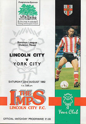 Lincoln City v York City league programme 22 August 1992