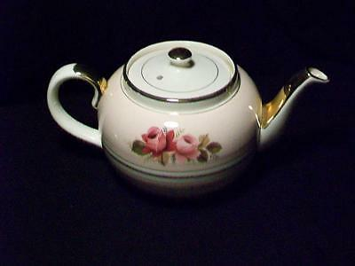 Sadler Pink Roses With Gold Overlay Teapot