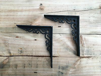 Black Pair Cast Iron Fireplace Cistern Victorian Georgian Antique Shelf Bracket