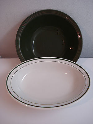 Green Stripe Restaurant Ware Oval Serving Bowl & Round Green Vegetable Bowl VGCo