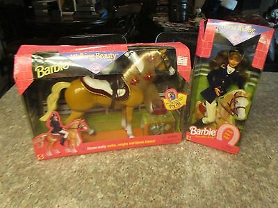 BARBIE Doll & WALKING BEAUTY HORSE  ~1998~ Horse neighs and has flexible neck
