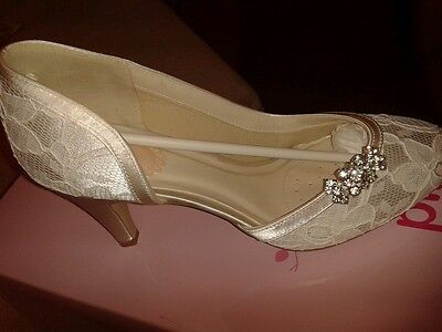 Unworn...Brand new...Pink Paradox London Ivory Wedding Shoes Size 5