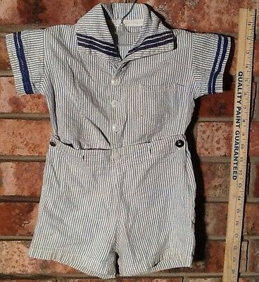 Vintage Baby Boys 2 Piece Outfit - White and Blue Stripes
