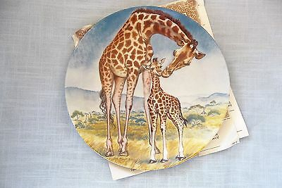"""Mother & Baby Giraffes Collector Plate, """"A Kiss For Mother"""", Knowles 1981 +COA"""