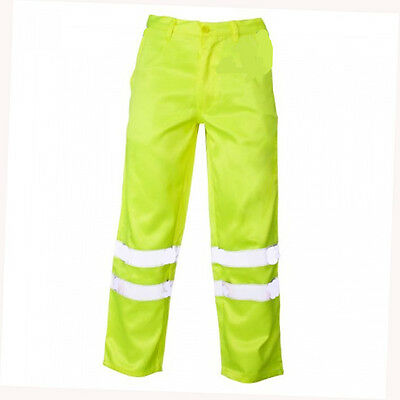 High Vis Yellow Poly Cotton Work Trousers Hi Viz Visibility Pants Mens Womens