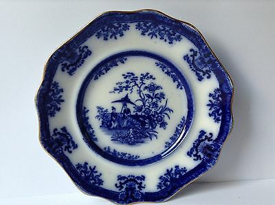 Fine Davenport Amoy Flow Blue Plate With Gold Trim C1844
