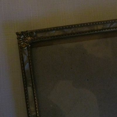 Vintage Metal Mother of Pearl Picture Frame with Glass  8 1/2  X 11
