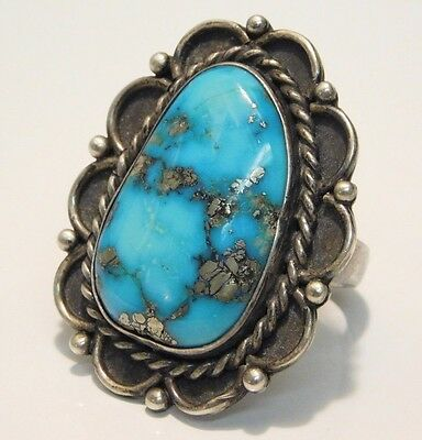The Best Vtg Morenci Turquoise Navajo Sterling Silver Native American Ring 7.5