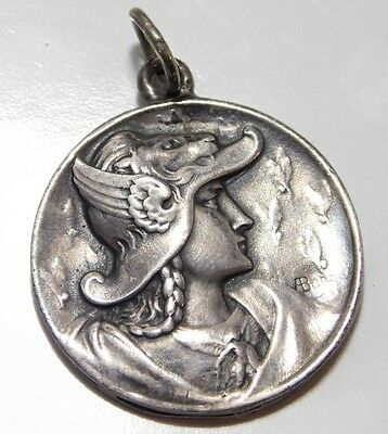 Antique Sterling Silver Greek God Mercury Detailed Repousse Pendant Medal Fob