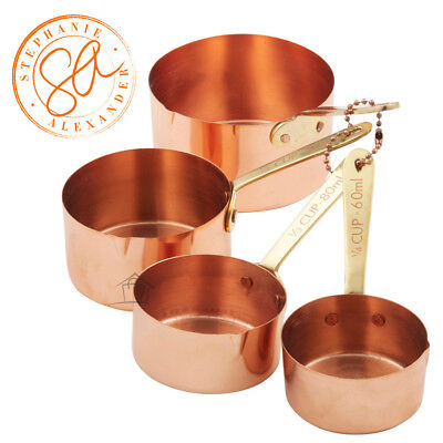 NEW Stephanie Alexander Copper Plated Measuring Cups Set of 4 with Brass Handles