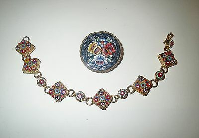 Jewelry Lot Vintage MICRO MOSAIC JEWELRY - Bracelet Brooch Collection