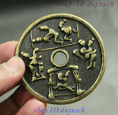 Collect Chinese Dynasty Palace Bronze Men Women Eros Love Current Money Coin Bi