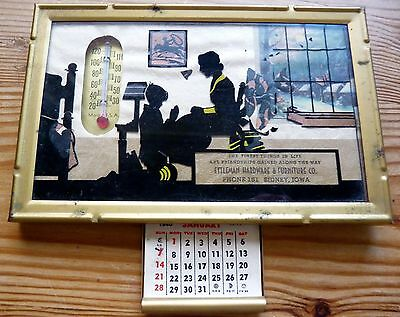 Silhouette Picture With Thermometer Advertising Calendar From 1940