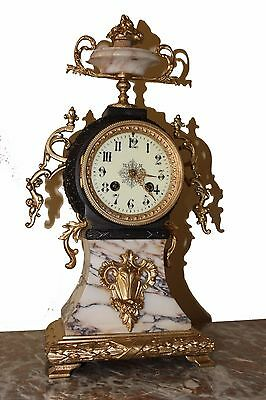 BEAUTIFUL FRENCH BRONZE / MARBLE MANTEL CLOCK cca 1855