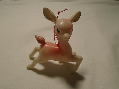 Vintage Soft Plastic Movable Head Pink and White Reindeer Christmas Ornament