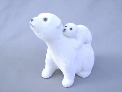 Polar Bear Mom And Her Baby Plastic With Fuzzy Flocking
