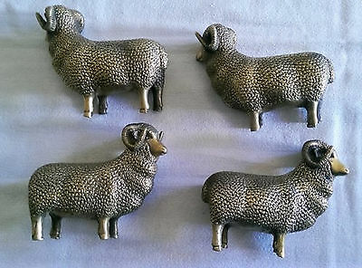 FOUR Fine Decorated Old Handwork Copper/Brass Carving Wealthy Sheep Statue