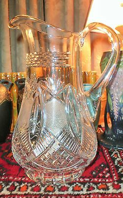 Vintage Etched & Pressed Glass Footed Pinwheel Design Water Pitcher