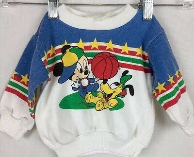 VTG Disney Mickey Mouse Pluto Basketball  3/6 Mon Toddlers Pullover Sweatshirt a