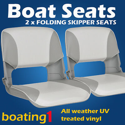2 Premium Folding Skipper Boat Seats Marine All Weather Grey/White