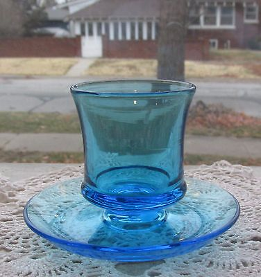 Blue Fostoria #2349 cigarette holder & ashtray  1925-1930
