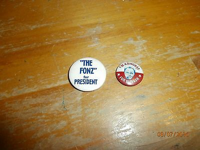 Presidential Campaign Buttons Televsion Shows Fonz, Happy Days Archie Bunker