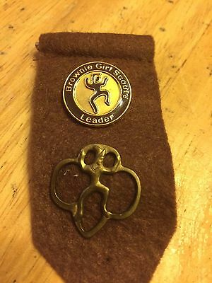 Brownie Felt Insignia Tab with Membership Pin and Brownie Leader Pin Girl Scouts