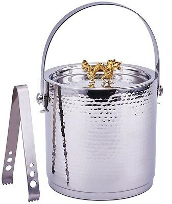 Dragon Handle Hammered Ice Bucket Stainless Steel Lid & Ice Tongs Bar Accessory