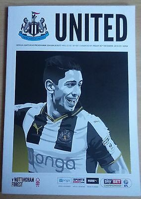NEWCASTLE UNITED v NOTTINGHAM FOREST MATCHDAY PROGRAMME 30/12/2016 **MINT**