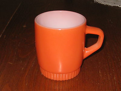 1 VTG** FIRE KING** Anchor Hocking **ORANGE** Stackable Coffee  Cup