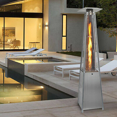 13KW Flames Patio Heater Stainless Steel Pyramid Gas Propane Garden Outdoor