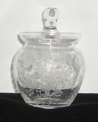 "Cambridge WILDFLOWER PRISTINE CRYSTAL *5"" BLOWN MARMALADE w/LID*147*"