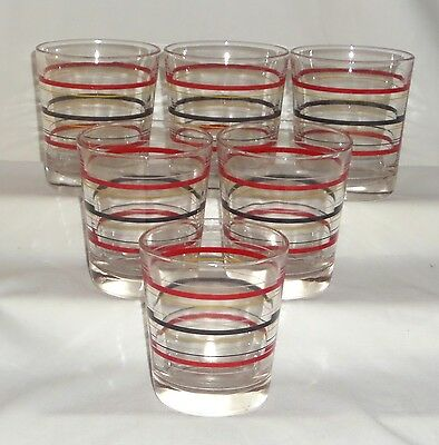"""6 Hocking RING/STRIPED CRYSTAL *3 1/2"""" OLD FASHIONED TUMBLERS*"""
