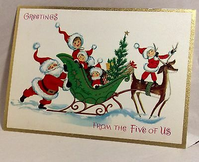 Santa Family Sleigh From the Five of Us 1960's  Vintage Christmas Greeting Card