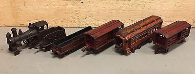 Antique Original Hubley 6 Piece Train Set Railroad Collectible Engine