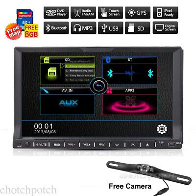 """7"""" Double 2Din Touch Screen Car CD DVD Player In Dash GPS Stereo Radio IR+Camera"""
