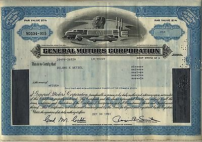 General Motors GM Stock Certificate Blue Auto