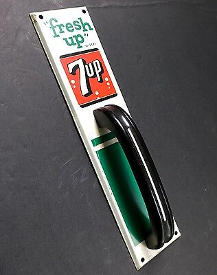 Vintage 7up Soda Country Store Door Push Pull Sign With Handle Never Used