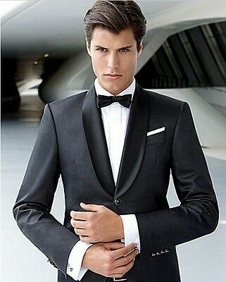 Black Custom Made Shawl Lapel Men's Wedding Party Suits Business Prom Tuxedos
