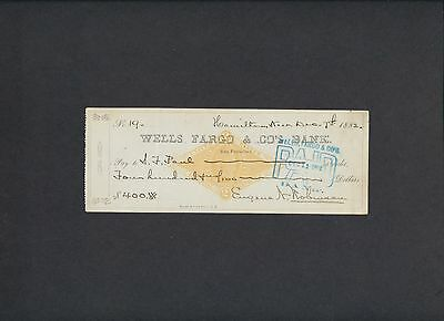 19th C. WELLS FARGO SAN FRANCISCO, CA ~ MINING CHECK ~ SIGNED ~ COMSTOCK LODE