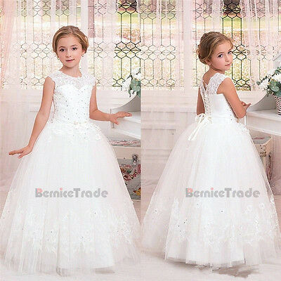 Lace Flower Girl Dress Communion Princess Wedding  Party Prom Pageant Bridesmaid