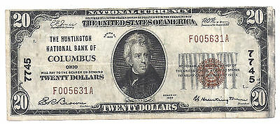 $20.00 Circulated 1929 NATIONAL BANK NOTE Columbus, OH. T1 Charter # 7745
