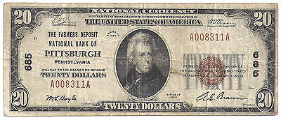 $20.00 Circulated 1929 NATIONAL BANK NOTE Pittsburgh, PA. Charter #685 Type 1